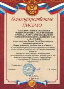 "Благодарность ООО ""Школа интернат № 15"" Сочи"
